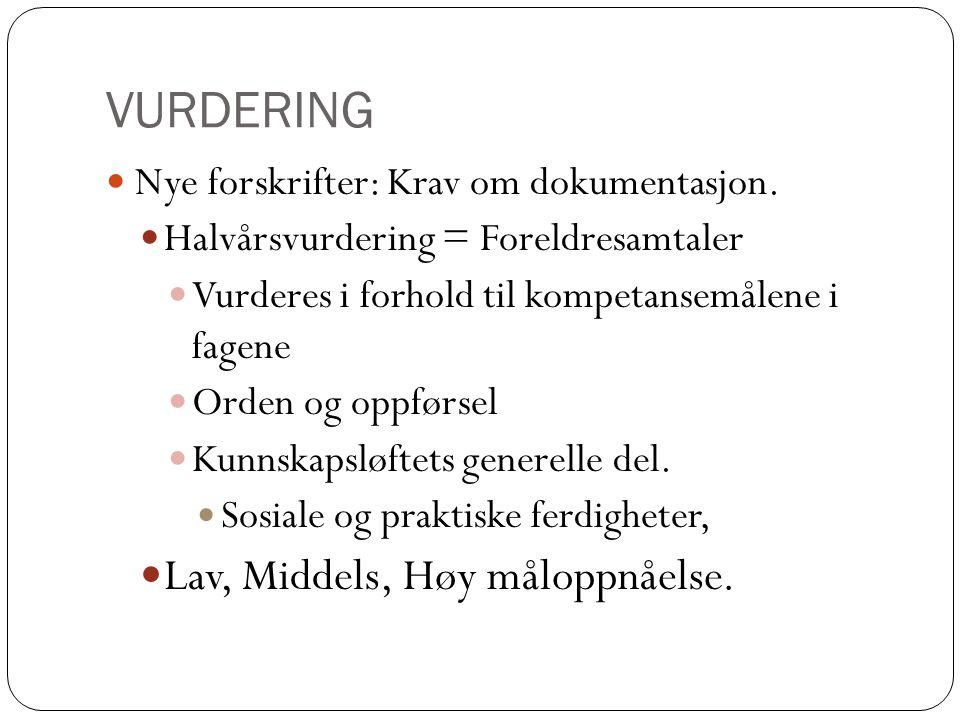 VURDERING Nye forskrifter: Krav om dokumentasjon. Halvårsvurdering = Foreldresamtaler Vurderes i forhold til kompetansemålene i fagene Orden og oppfør