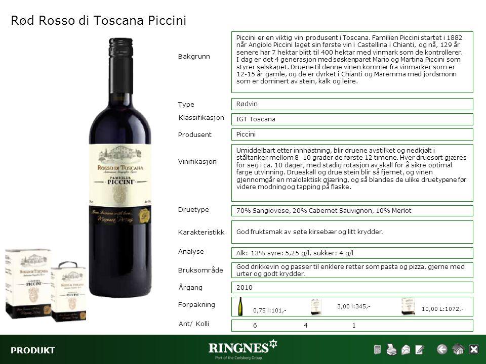 PRODUKT Rød Rosso di Toscana Piccini Type Klassifikasjon Vinifikasjon Druetype Rødvin IGT Toscana Bakgrunn Karakteristikk Analyse Bruksområde Piccini
