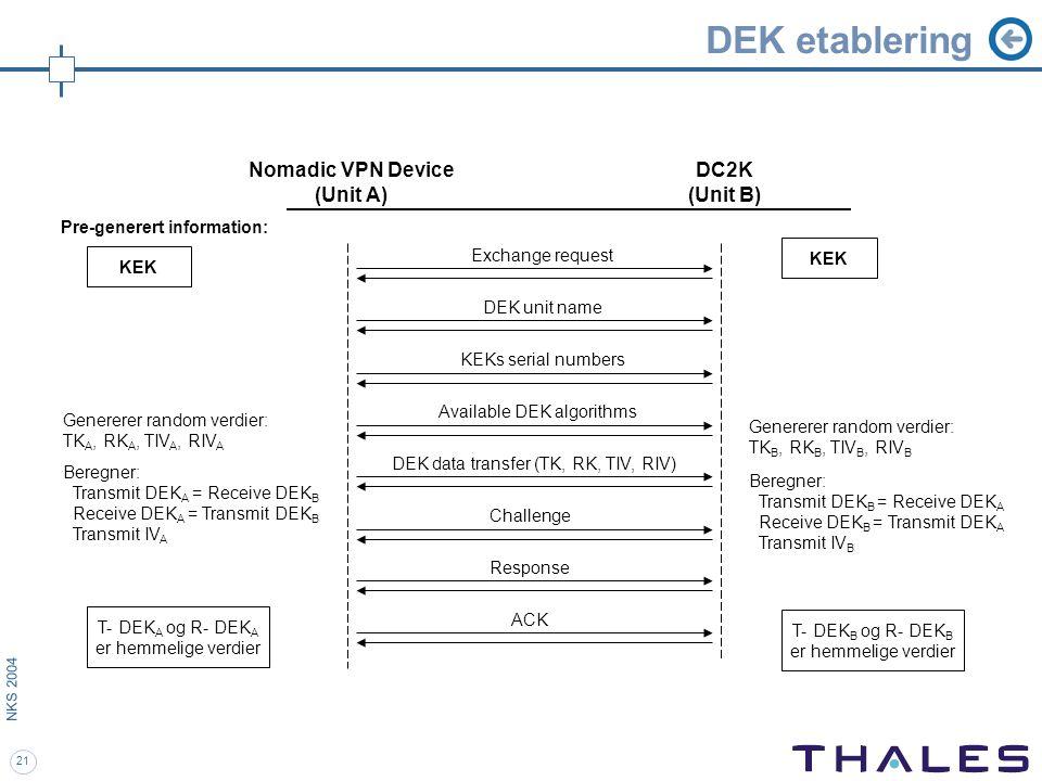 21 NKS 2004 DEK etablering Pre-generert information: DEK unit name KEKs serial numbers Available DEK algorithms DEK data transfer (TK, RK, TIV, RIV) Challenge Response ACK Genererer random verdier: TK A, RK A, TIV A, RIV A Beregner: Transmit DEK A = Receive DEK B Receive DEK A = Transmit DEK B Transmit IV A Nomadic VPN Device (Unit A) DC2K (Unit B) KEK Genererer random verdier: TK B, RK B, TIV B, RIV B Beregner: Transmit DEK B = Receive DEK A Receive DEK B = Transmit DEK A Transmit IV B Exchange request T- DEK A og R- DEK A er hemmelige verdier T- DEK B og R- DEK B er hemmelige verdier