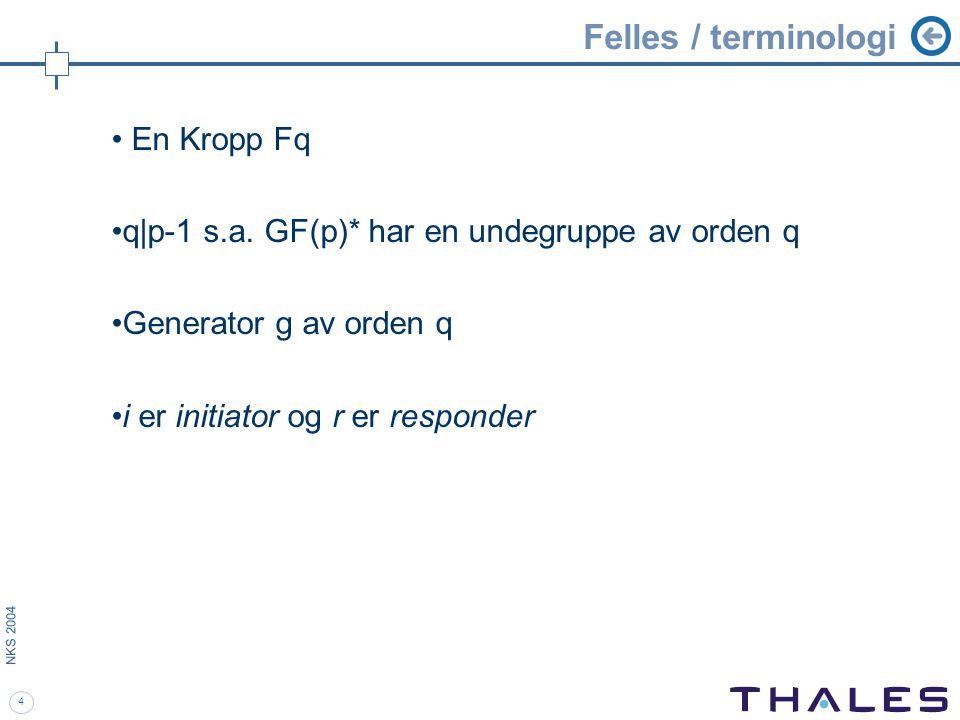 4 NKS 2004 Felles / terminologi En Kropp Fq q|p-1 s.a.