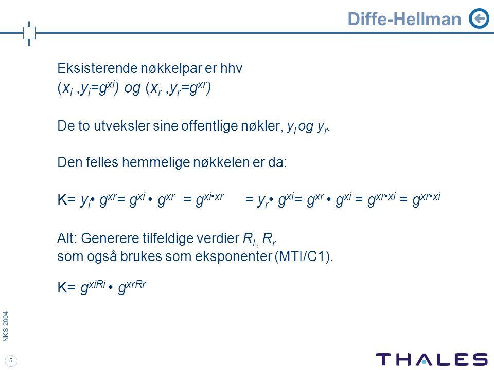 5 NKS 2004 Diffe-Hellman Eksisterende nøkkelpar er hhv (x i,y i =g xi ) og (x r,y r =g xr ) De to utveksler sine offentlige nøkler, y i og y r.