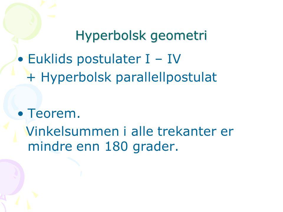 Poincaré-modellen Det hyperbolske plan H: det indre av enhetssirkelen.