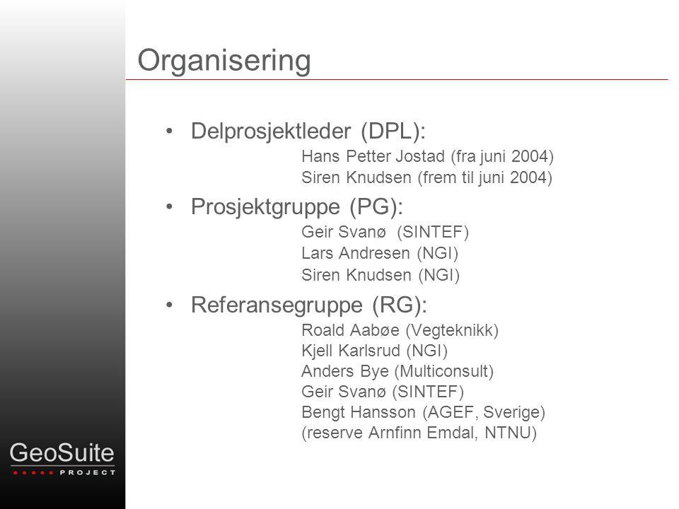Organisering Delprosjektleder (DPL): Hans Petter Jostad (fra juni 2004) Siren Knudsen (frem til juni 2004) Prosjektgruppe (PG): Geir Svanø (SINTEF) La
