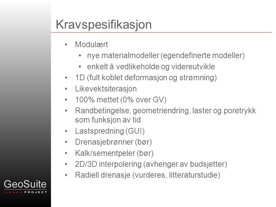 Kravspesifikasjon Modulært nye materialmodeller (egendefinerte modeller) enkelt å vedlikeholde og videreutvikle 1D (fult koblet deformasjon og strømni