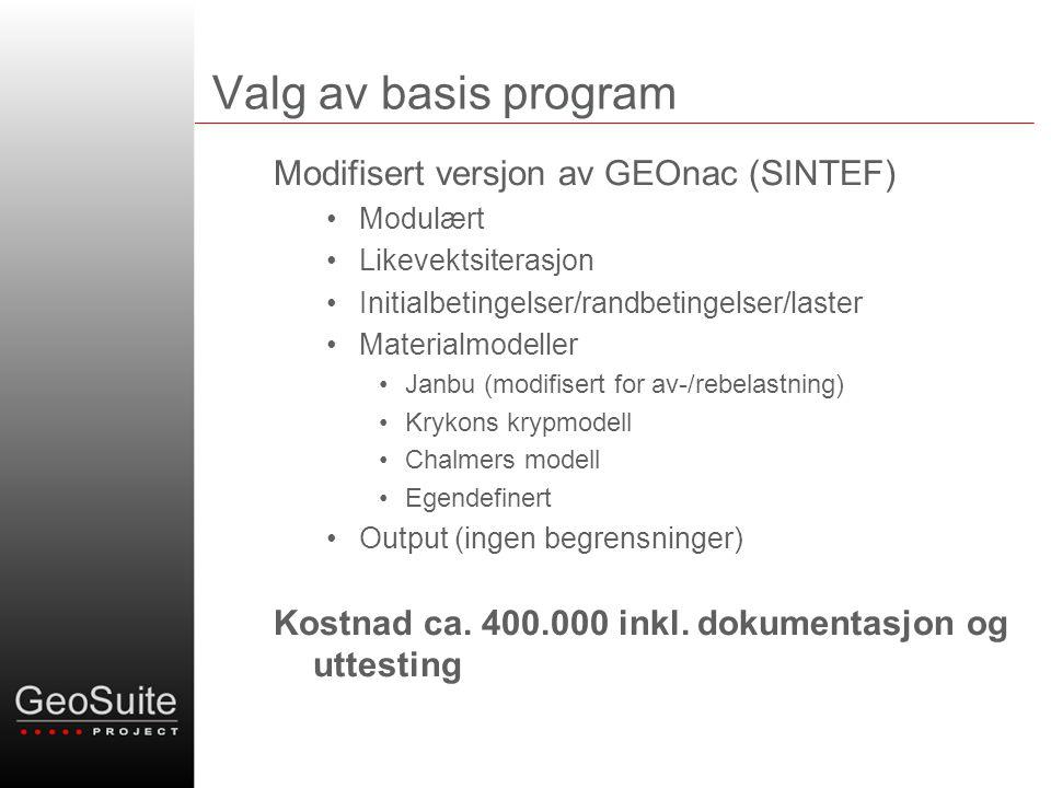 Valg av basis program Modifisert versjon av GEOnac (SINTEF) Modulært Likevektsiterasjon Initialbetingelser/randbetingelser/laster Materialmodeller Jan