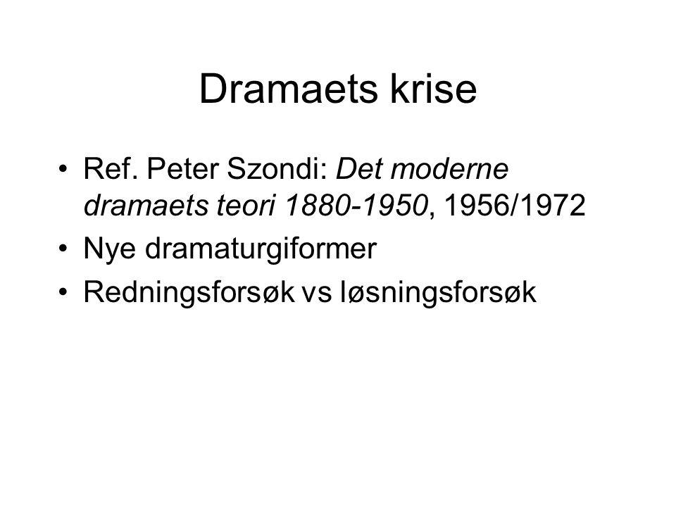 Dramaets krise Ref. Peter Szondi: Det moderne dramaets teori 1880-1950, 1956/1972 Nye dramaturgiformer Redningsforsøk vs løsningsforsøk