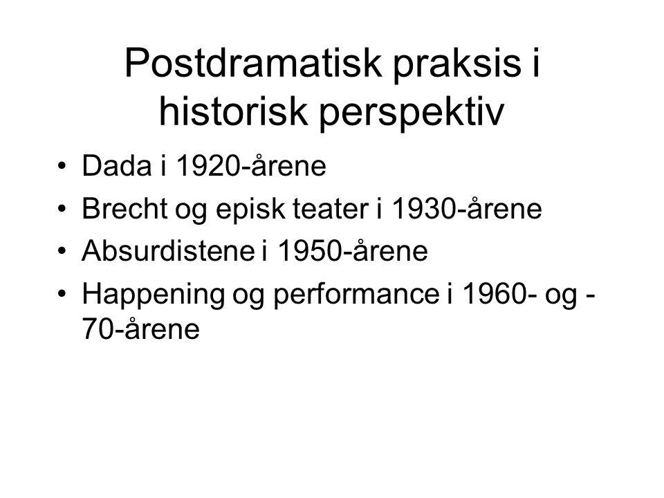 Postdramatisk praksis i historisk perspektiv Dada i 1920-årene Brecht og episk teater i 1930-årene Absurdistene i 1950-årene Happening og performance
