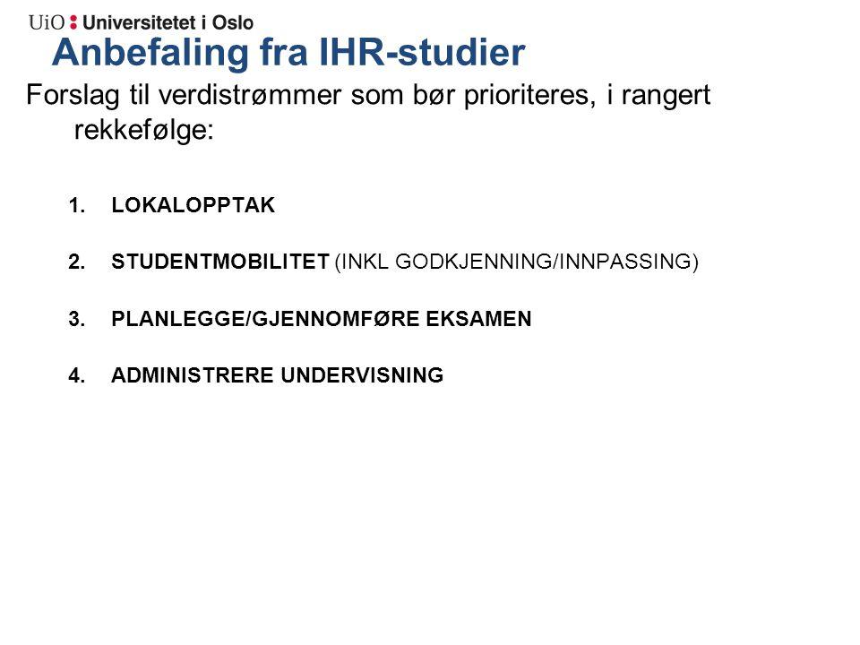 Anbefaling fra IHR-studier Forslag til verdistrømmer som bør prioriteres, i rangert rekkefølge: 1.LOKALOPPTAK 2.STUDENTMOBILITET (INKL GODKJENNING/INNPASSING) 3.PLANLEGGE/GJENNOMFØRE EKSAMEN 4.ADMINISTRERE UNDERVISNING