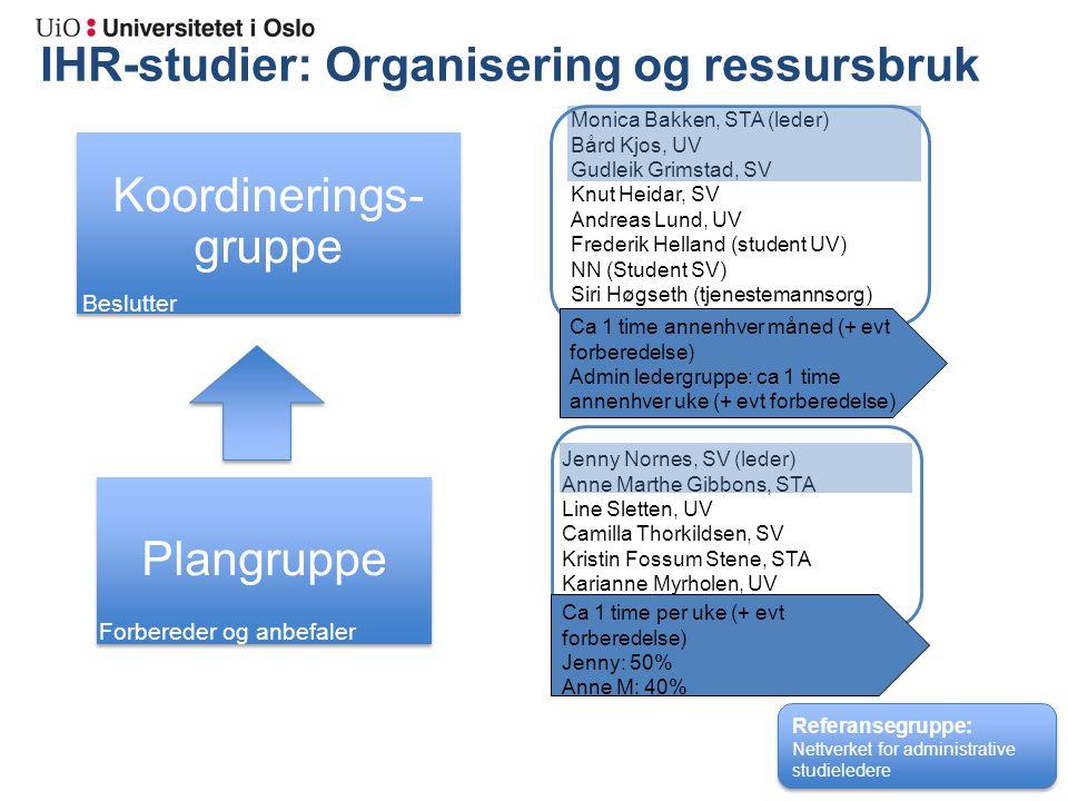IHR-studier: Organisering og ressursbruk Admin. ledere Monica Bakken, STA (leder) Bård Kjos, UV Gudleik Grimstad, SV Knut Heidar, SV Andreas Lund, UV