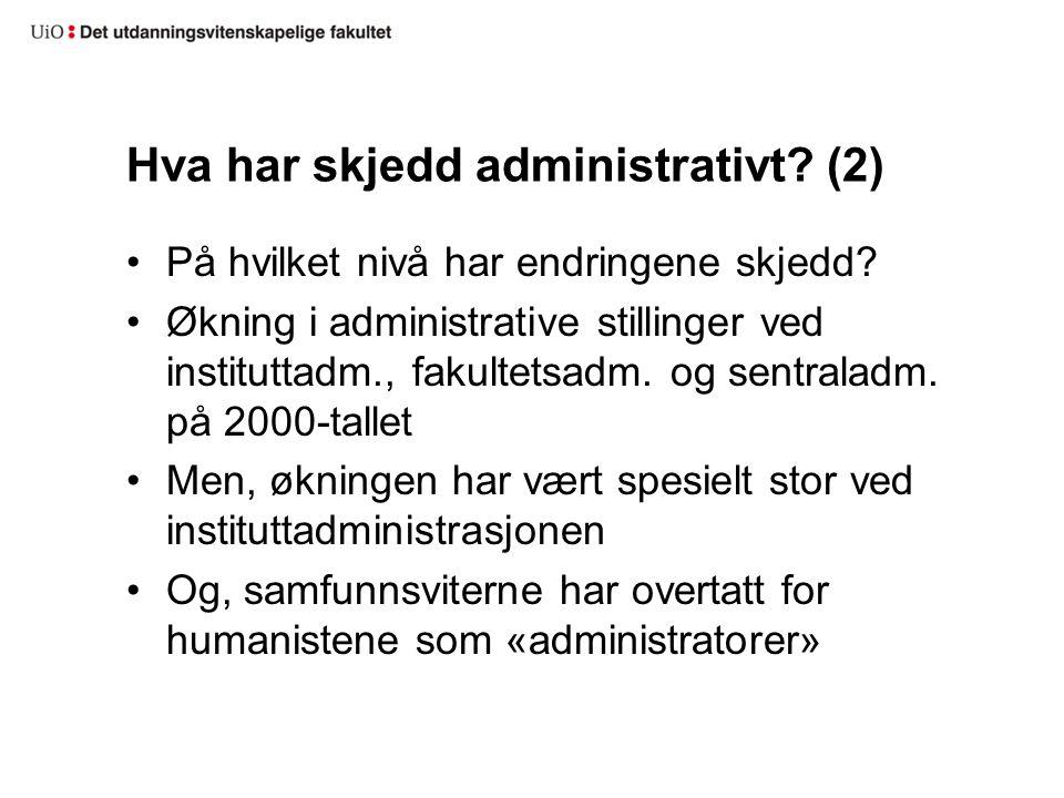Hva har skjedd administrativt? (2) På hvilket nivå har endringene skjedd? Økning i administrative stillinger ved instituttadm., fakultetsadm. og sentr