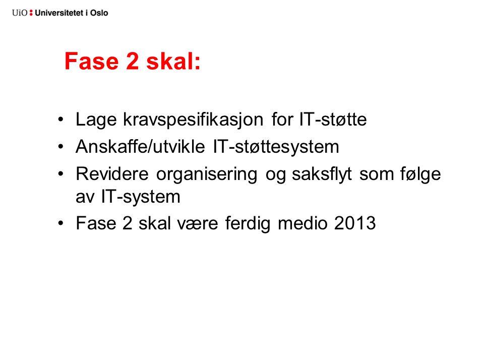 Fase 2 skal: Lage kravspesifikasjon for IT-støtte Anskaffe/utvikle IT-støttesystem Revidere organisering og saksflyt som følge av IT-system Fase 2 skal være ferdig medio 2013