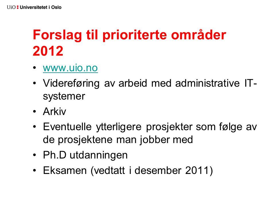 Forslag til prioriterte områder 2012 www.uio.no Videreføring av arbeid med administrative IT- systemer Arkiv Eventuelle ytterligere prosjekter som følge av de prosjektene man jobber med Ph.D utdanningen Eksamen (vedtatt i desember 2011)