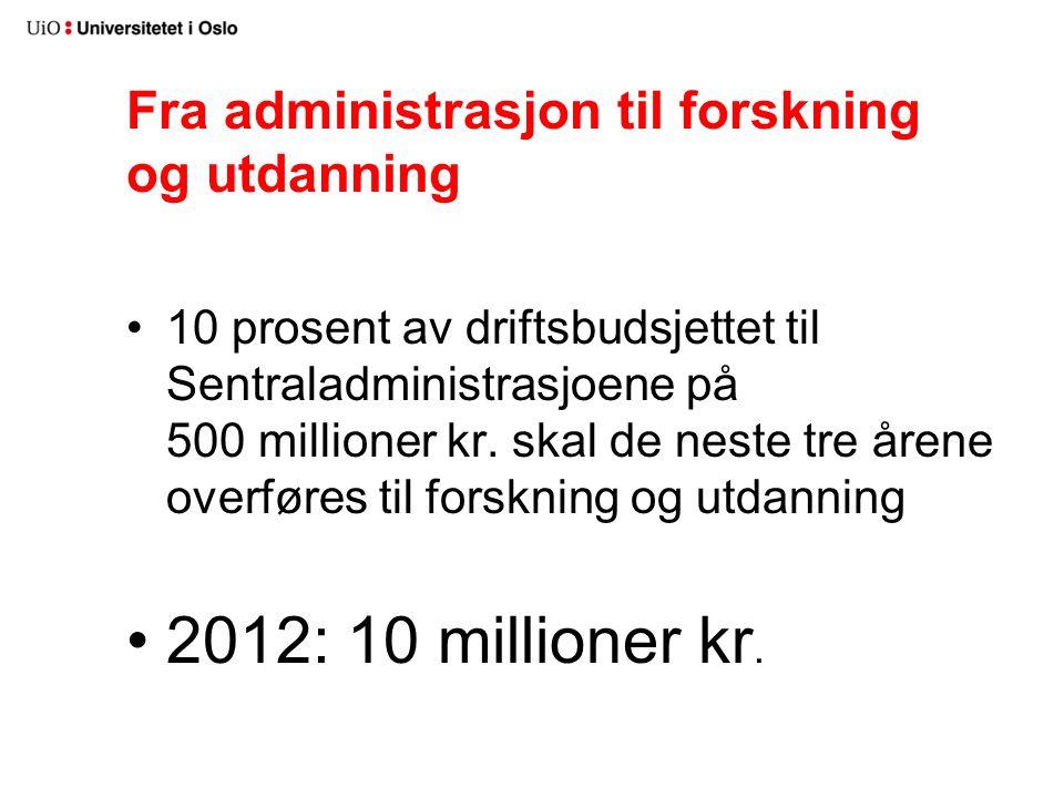 Fra administrasjon til forskning og utdanning 10 prosent av driftsbudsjettet til Sentraladministrasjoene på 500 millioner kr.