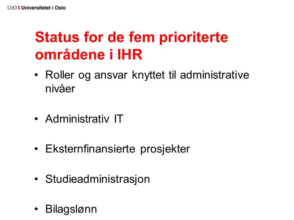 Status for de fem prioriterte områdene i IHR Roller og ansvar knyttet til administrative nivåer Administrativ IT Eksternfinansierte prosjekter Studieadministrasjon Bilagslønn