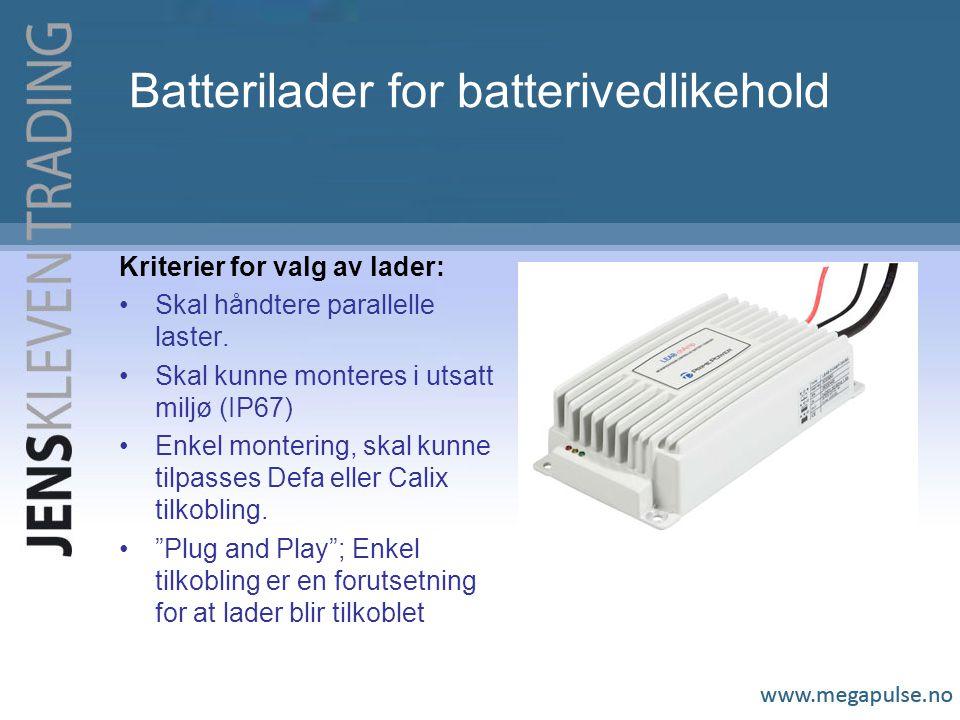 Batterilader for batterivedlikehold Kriterier for valg av lader: Skal håndtere parallelle laster.
