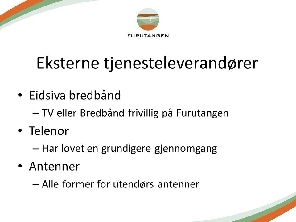 Eksterne tjenesteleverandører Eidsiva bredbånd – TV eller Bredbånd frivillig på Furutangen Telenor – Har lovet en grundigere gjennomgang Antenner – Alle former for utendørs antenner