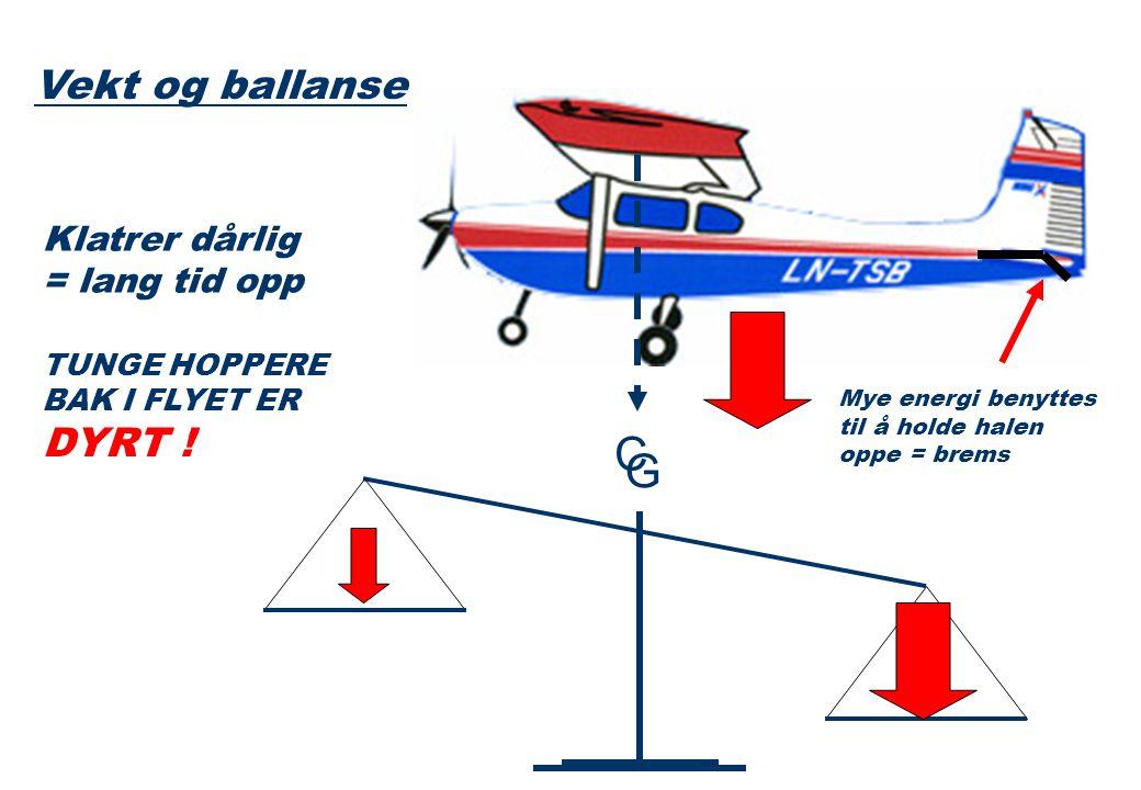 C G Klatrer dårlig = lang tid opp TUNGE HOPPERE BAK I FLYET ER DYRT .