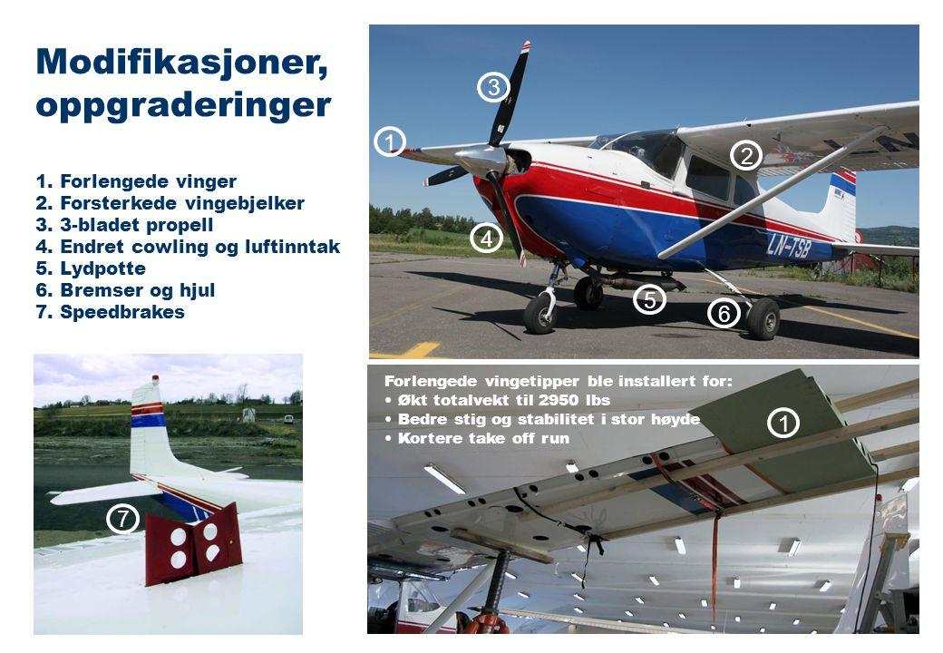 1. Forlengede vinger 2. Forsterkede vingebjelker 3.