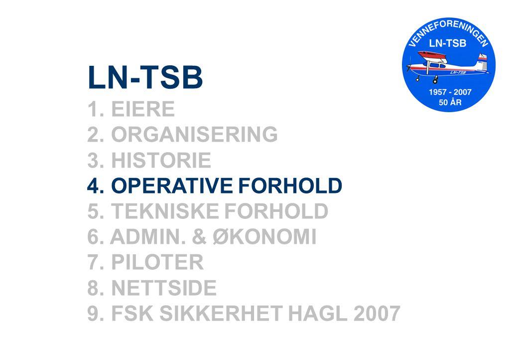 LN-TSB 1. EIERE 2. ORGANISERING 3. HISTORIE 4. OPERATIVE FORHOLD 5. TEKNISKE FORHOLD 6. ADMIN. & ØKONOMI 7. PILOTER 8. NETTSIDE 9. FSK SIKKERHET HAGL