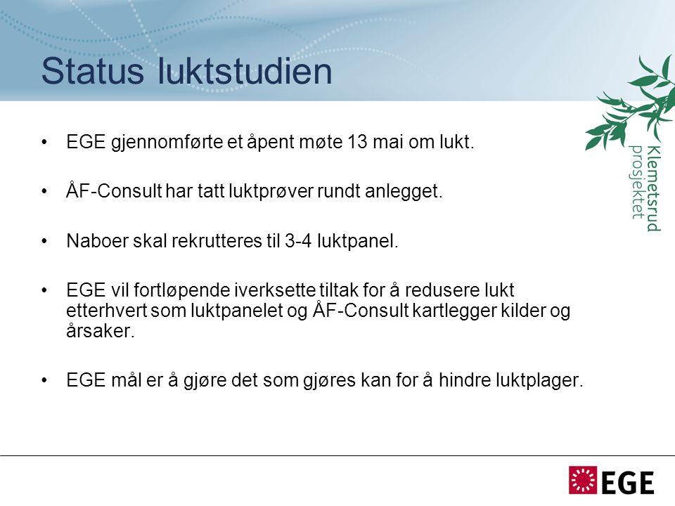 Status luktstudien EGE gjennomførte et åpent møte 13 mai om lukt. ÅF-Consult har tatt luktprøver rundt anlegget. Naboer skal rekrutteres til 3-4 luktp