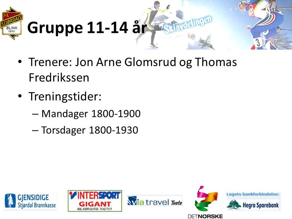 Gruppe 11-14 år Trenere: Jon Arne Glomsrud og Thomas Fredrikssen Treningstider: – Mandager 1800-1900 – Torsdager 1800-1930