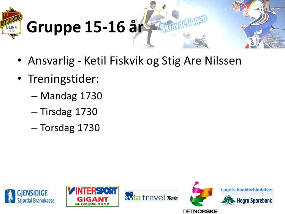Gruppe 15-16 år Ansvarlig - Ketil Fiskvik og Stig Are Nilssen Treningstider: – Mandag 1730 – Tirsdag 1730 – Torsdag 1730