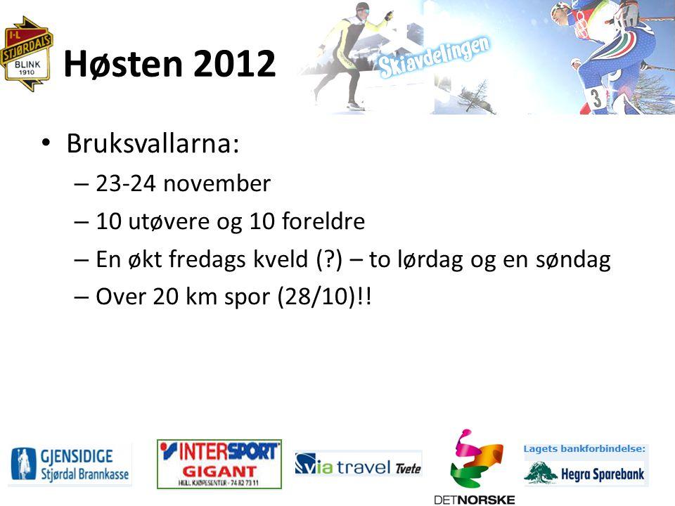 Høsten 2012 Bruksvallarna: – 23-24 november – 10 utøvere og 10 foreldre – En økt fredags kveld ( ) – to lørdag og en søndag – Over 20 km spor (28/10)!!