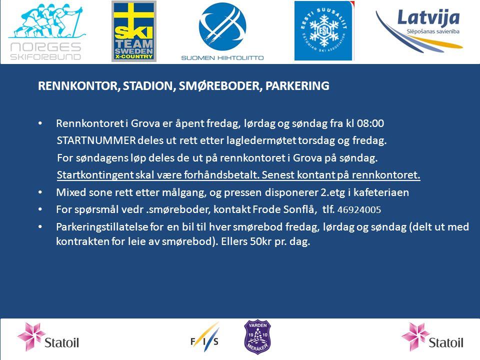 RENNKONTOR, STADION, SMØREBODER, PARKERING Rennkontoret i Grova er åpent fredag, lørdag og søndag fra kl 08:00 STARTNUMMER deles ut rett etter lagledermøtet torsdag og fredag.