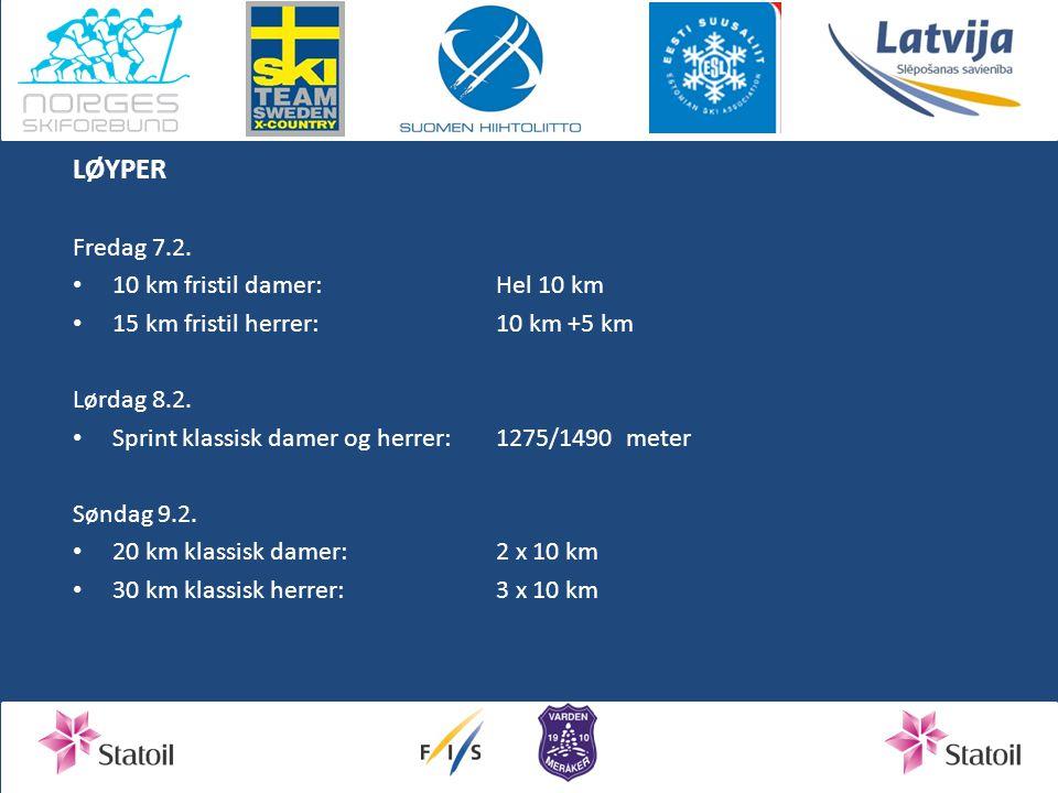 LØYPER Fredag 7.2.10 km fristil damer:Hel 10 km 15 km fristil herrer:10 km +5 km Lørdag 8.2.
