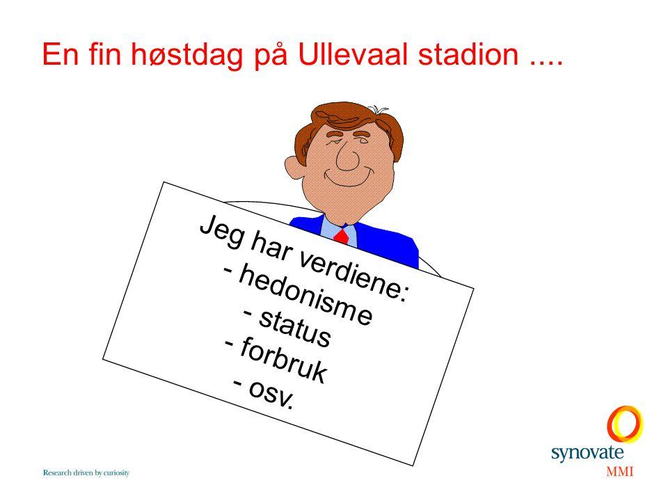 En fin høstdag på Ullevaal stadion.... Jeg har verdiene: - hedonisme - status - forbruk - osv.