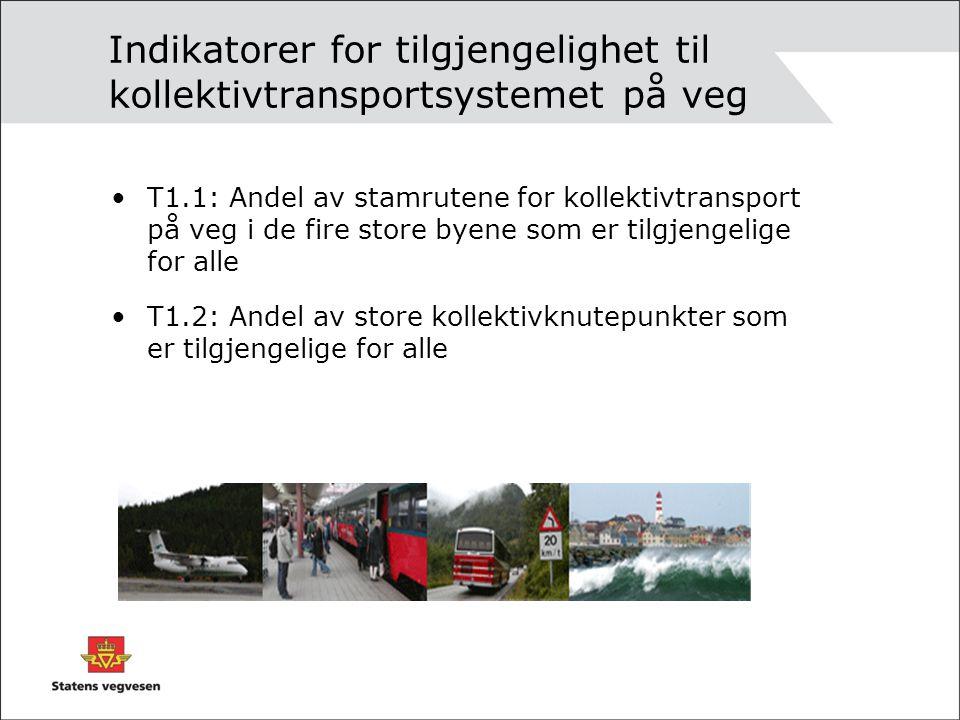 Indikatorer for tilgjengelighet til kollektivtransportsystemet på veg T1.1: Andel av stamrutene for kollektivtransport på veg i de fire store byene som er tilgjengelige for alle T1.2: Andel av store kollektivknutepunkter som er tilgjengelige for alle