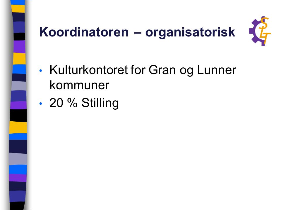 Koordinatoren – organisatorisk Kulturkontoret for Gran og Lunner kommuner 20 % Stilling