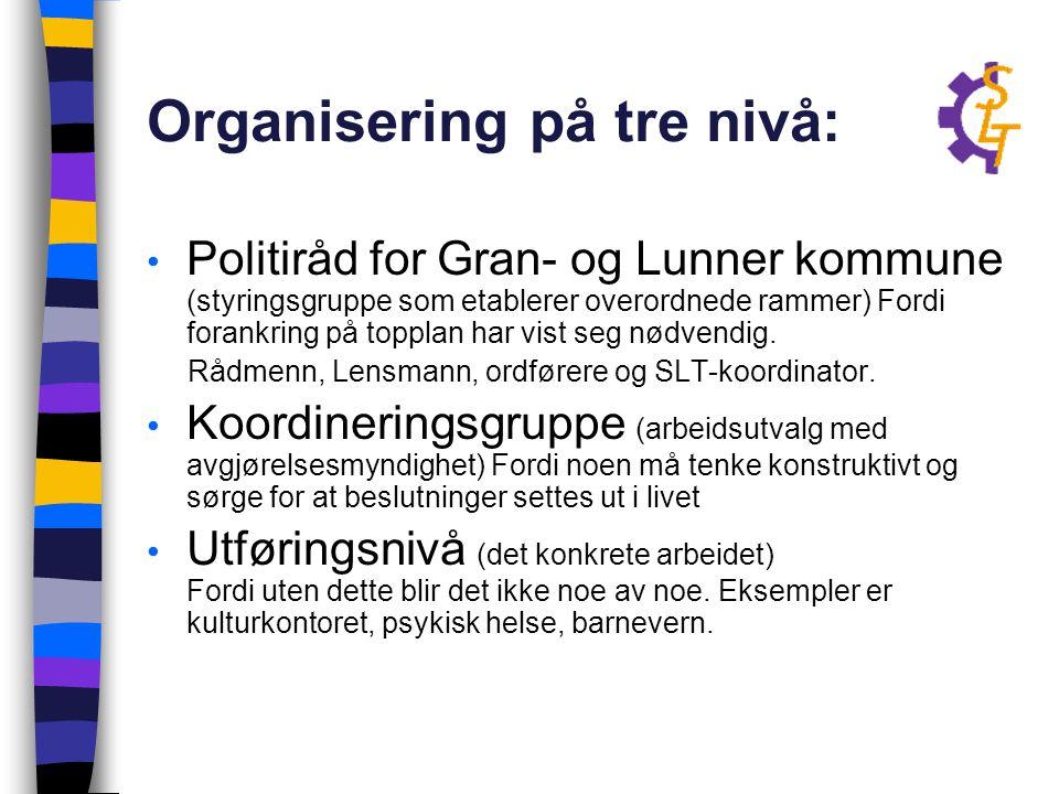 Organisering på tre nivå: Politiråd for Gran- og Lunner kommune (styringsgruppe som etablerer overordnede rammer) Fordi forankring på topplan har vist