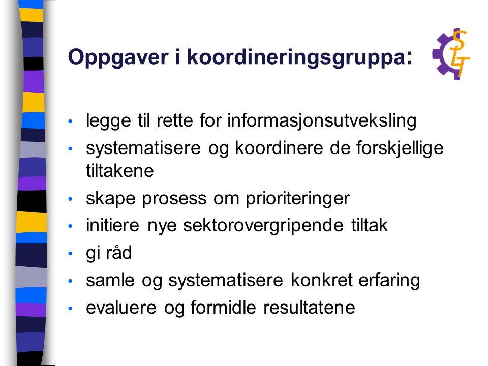 Oppgaver i koordineringsgruppa : legge til rette for informasjonsutveksling systematisere og koordinere de forskjellige tiltakene skape prosess om pri