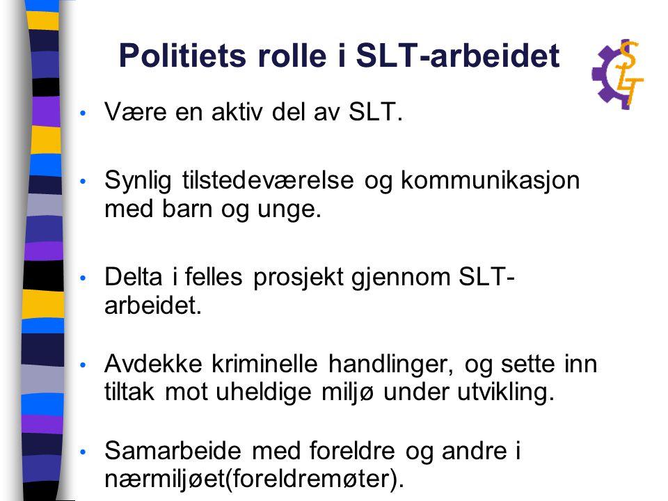 Politiets rolle i SLT-arbeidet Være en aktiv del av SLT. Synlig tilstedeværelse og kommunikasjon med barn og unge. Delta i felles prosjekt gjennom SLT