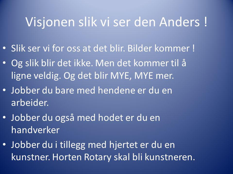 Visjonen slik vi ser den Anders ! Slik ser vi for oss at det blir. Bilder kommer ! Og slik blir det ikke. Men det kommer til å ligne veldig. Og det bl