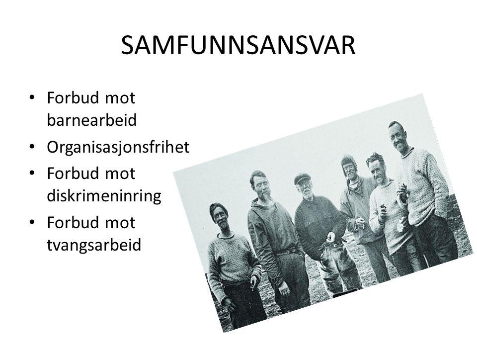 SAMFUNNSANSVAR Forbud mot barnearbeid Organisasjonsfrihet Forbud mot diskrimeninring Forbud mot tvangsarbeid