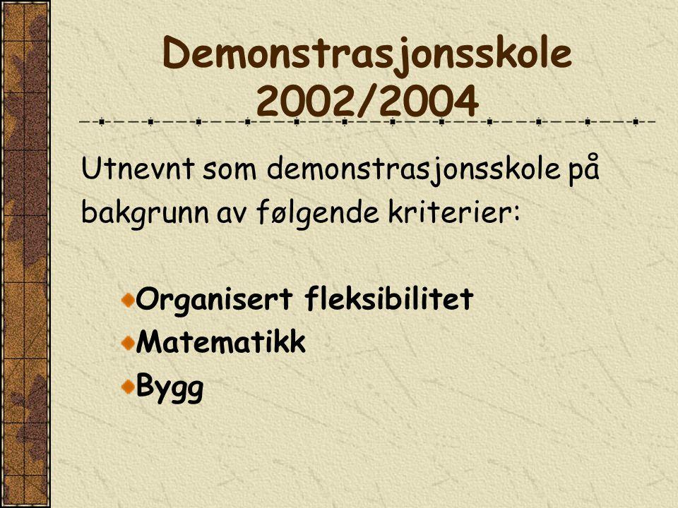 Demonstrasjonsskole 2002/2004 Utnevnt som demonstrasjonsskole på bakgrunn av følgende kriterier: Organisert fleksibilitet Matematikk Bygg