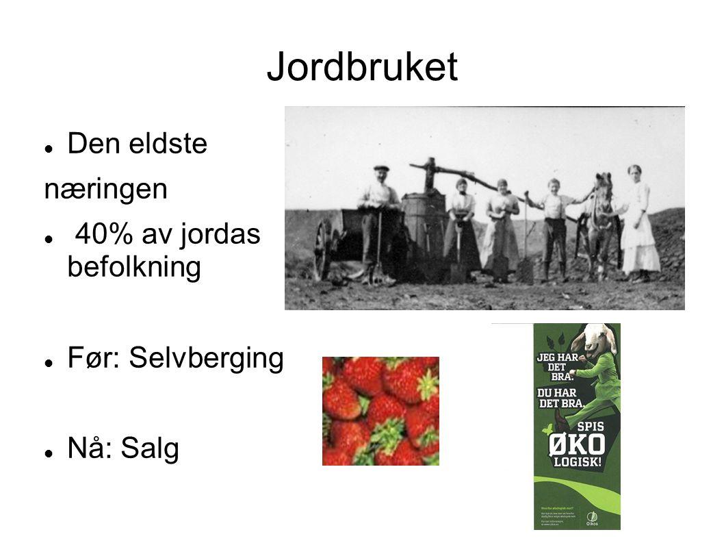 Jordbruket Den eldste næringen 40% av jordas befolkning Før: Selvberging Nå: Salg