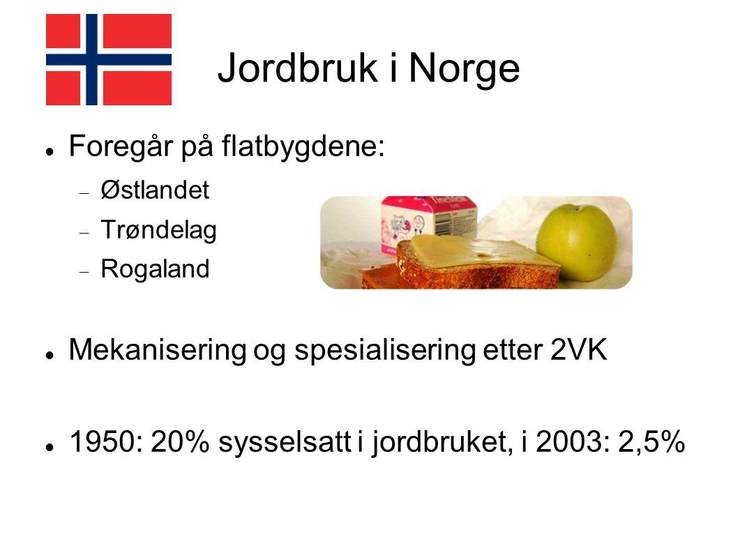 Jordbruk i Norge Foregår på flatbygdene:  Østlandet  Trøndelag  Rogaland Mekanisering og spesialisering etter 2VK 1950: 20% sysselsatt i jordbruket