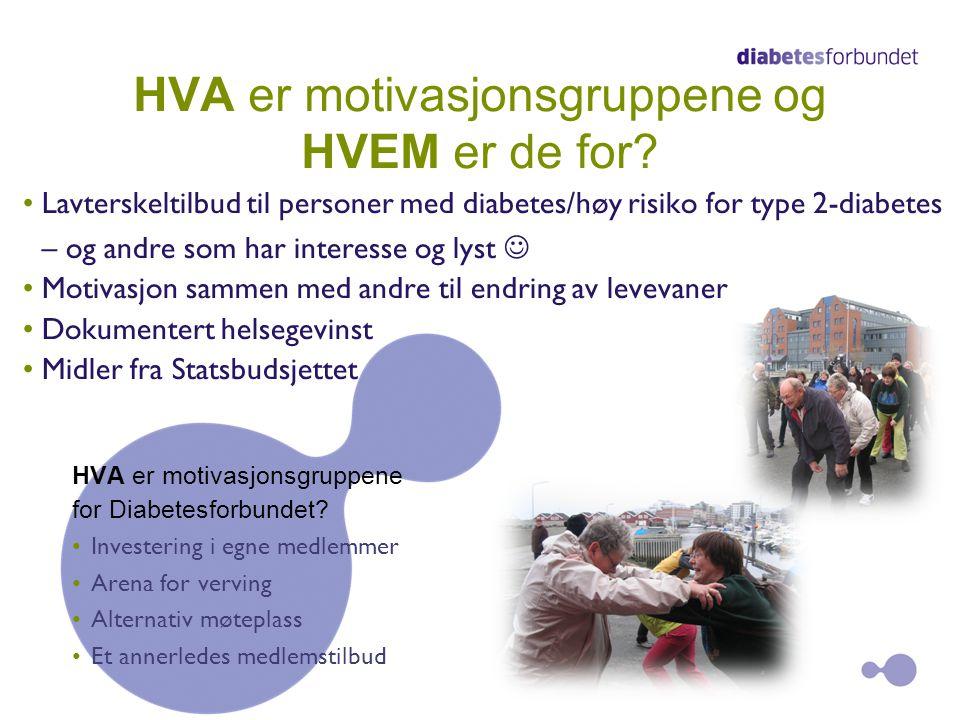 HVA er motivasjonsgruppene og HVEM er de for? Lavterskeltilbud til personer med diabetes/høy risiko for type 2-diabetes – og andre som har interesse o
