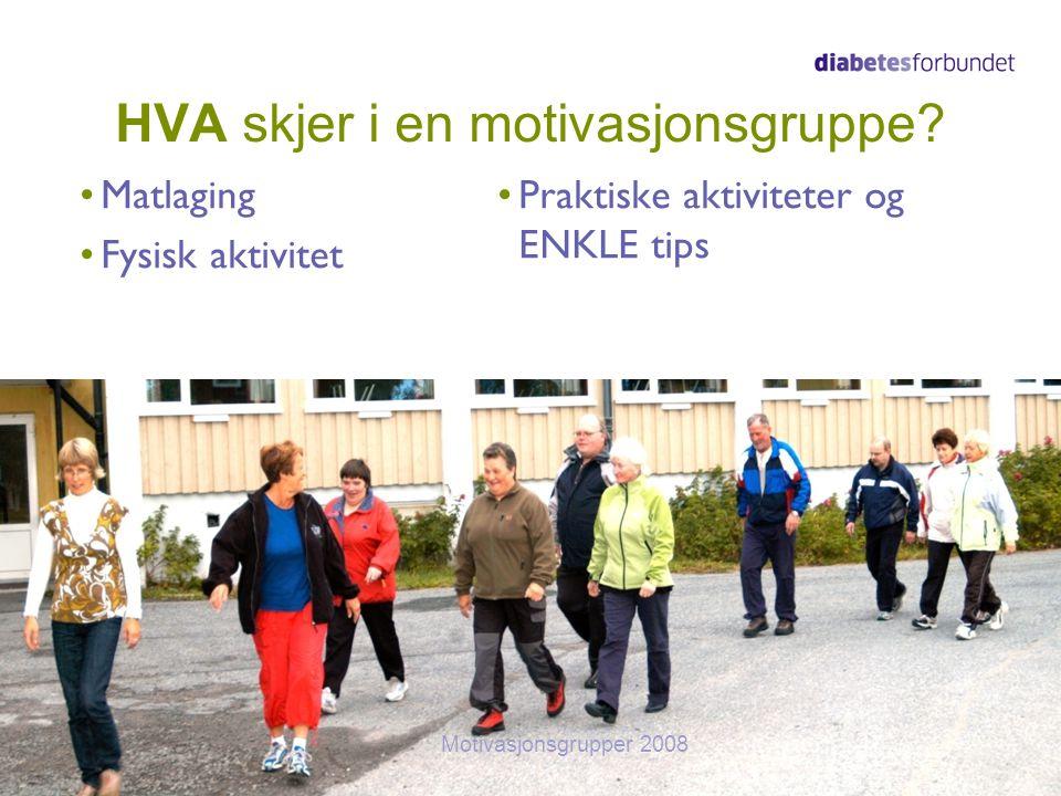 HVA skjer i en motivasjonsgruppe? Matlaging Fysisk aktivitet Praktiske aktiviteter og ENKLE tips 17Motivasjonsgrupper 2008
