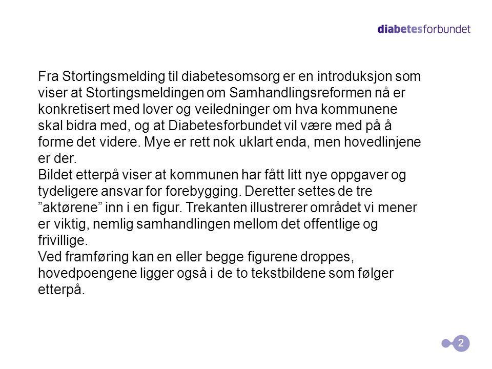 2 Fra Stortingsmelding til diabetesomsorg er en introduksjon som viser at Stortingsmeldingen om Samhandlingsreformen nå er konkretisert med lover og v