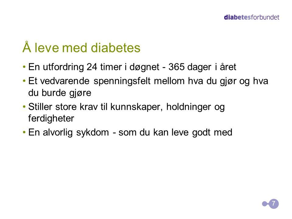 Å leve med diabetes Diabetes er vanskelig å leve med alene For å leve godt med diabetes er du avhengig av gode medspillere i helsetjenesten, i familien, blant venner og kollegaer Andres kunnskaper om diabetes er ofte mangelfulle og foreldet Når andre kjenner til diabetes, blir det lettere å ha diabetes 8