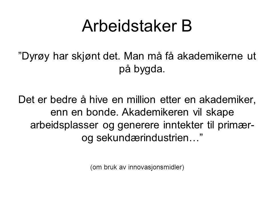 Arbeidstaker B Dyrøy har skjønt det. Man må få akademikerne ut på bygda.