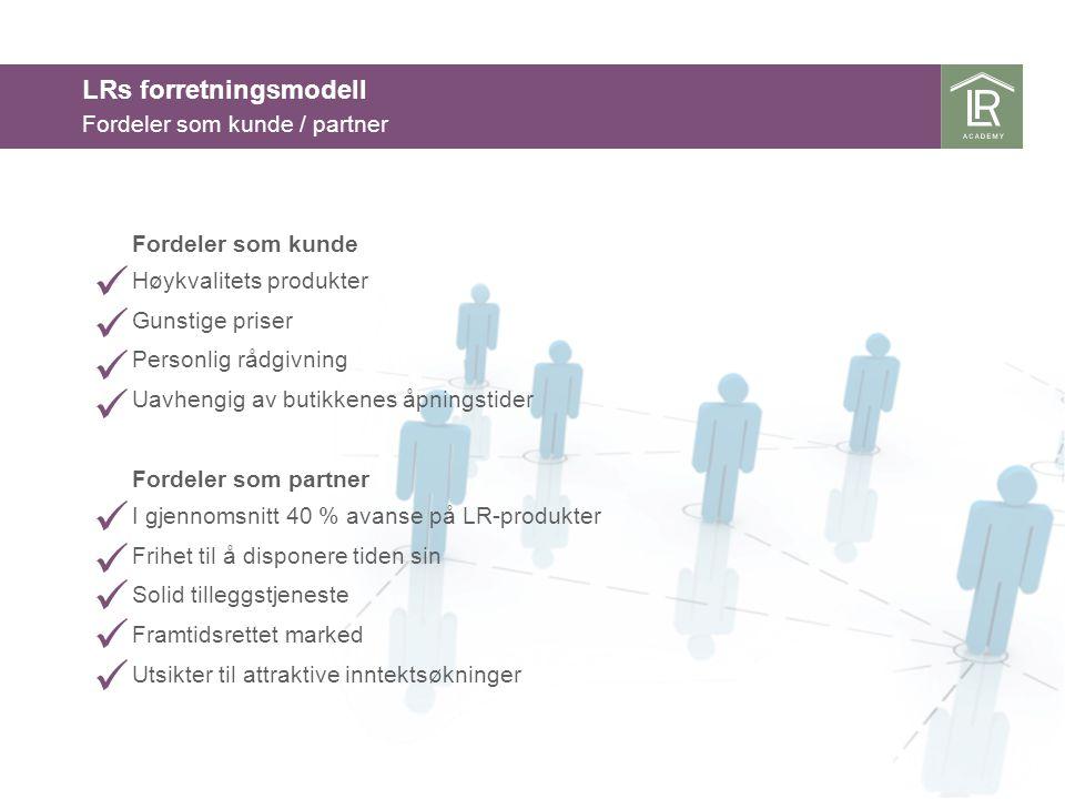 Fordeler som partner I gjennomsnitt 40 % avanse på LR-produkter Frihet til å disponere tiden sin Solid tilleggstjeneste Framtidsrettet marked Utsikter