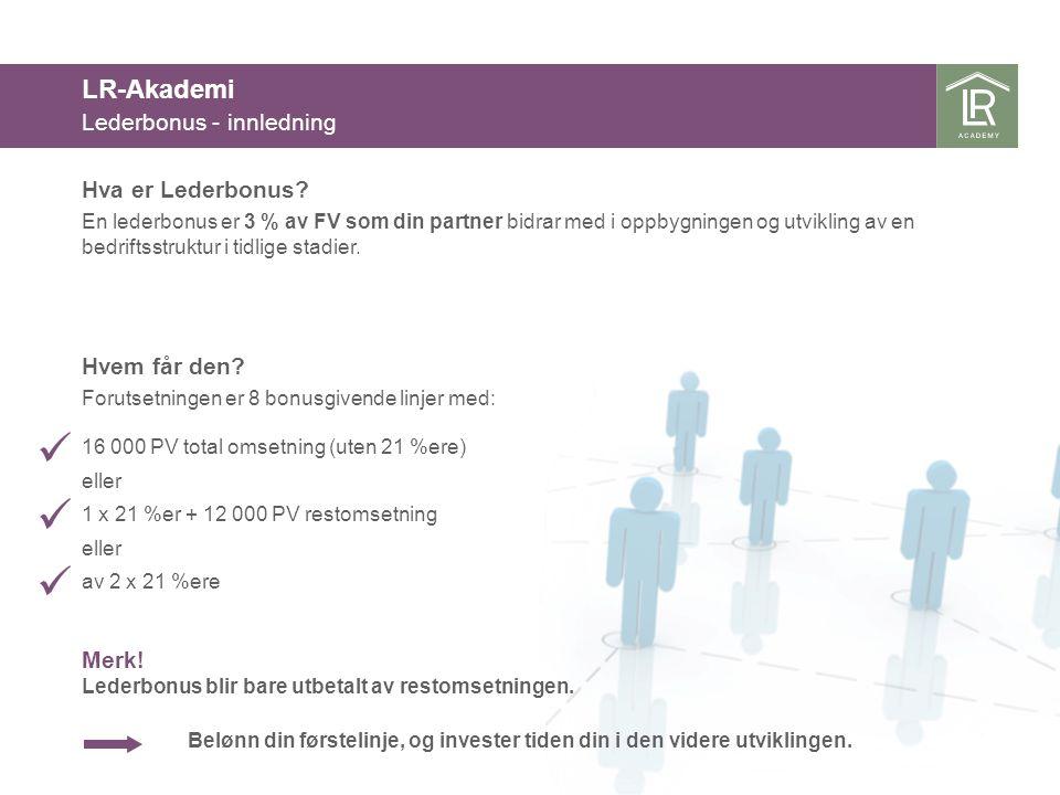 En lederbonus er 3 % av FV som din partner bidrar med i oppbygningen og utvikling av en bedriftsstruktur i tidlige stadier. Forutsetningen er 8 bonusg