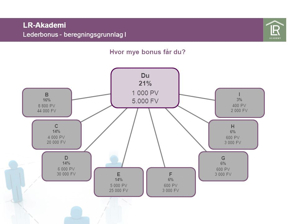 LR-Akademi Lederbonus - beregningsgrunnlag I Du 21% 1 000 PV 5.000 FV B 16% 8 800 PV 44 000 FV E 14% 5 000 PV 25 000 FV C 14% 4 000 PV 20 000 FV D 14%
