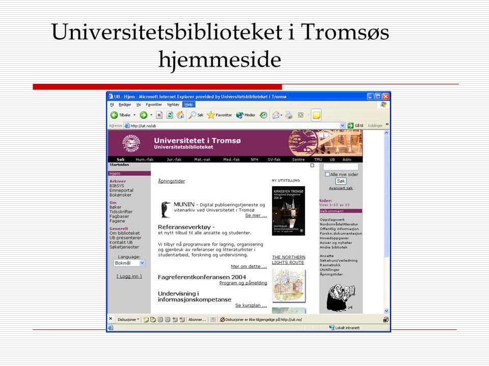 Universitetsbiblioteket i Tromsøs hjemmeside