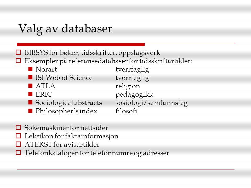 Valg av databaser  BIBSYS for bøker, tidsskrifter, oppslagsverk  Eksempler på referansedatabaser for tidsskriftartikler: Norarttverrfaglig ISI Web o